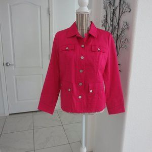 Ashley Fuchsia Pink Jacket Fully Lined Snap Front